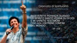 Riceverete Potenza dallo Spirito Santo, Chiara sorride indicando il cielo, Pentecoste